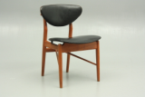 Niels Vodder and Finn Juhl dining chair in teak and leather designed in 1956.