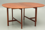 Dining table in solid teak. Oval shape and 3 extensions. Danish vintage furniture design with great quality.