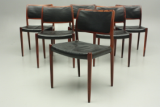 Danish design chairs in rosewood and leather. Design N.O.Møller. Production J.L.Møller, Danmark.