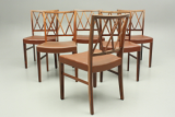 Set of six rosewood dining chairs designed by Ole Wanscher and produced by Slagelse Møbelværk, Denmark.