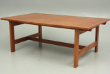 Coffee table and two lamp side tables. Solid teak. Østervig design. KP Møbler production.