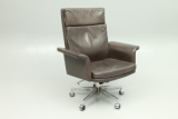 Hans Olsen design. Office chair in leather. Manufactured by C.S.Møbler, Denmark.