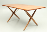 Hans Wegner crossleg table by Andr. Tuck in teak and oak.