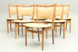 Set of teak and leather side chairs by Finn Juhl. Model 86 produced by Søren Willadsen, Denmark. Danish vintage design furniture.