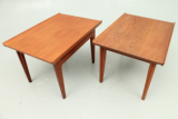Pair of side tables in teak.